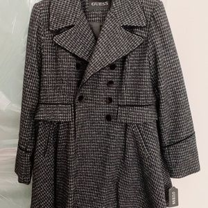 Fashion Plaid Fit Flare Double Breasted Wool Coat